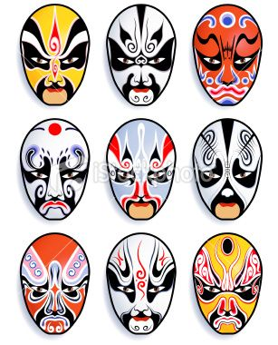 chinese opera masks Royalty Free Stock Vector Art Illustration