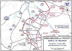 BATTLE OF MESSINES - Map of the battle, depicting the front on 7 June and subsequent action until 14 June 1917.
