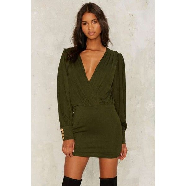 Sugar We're Goin' Down Mini Dress ($88) ❤ liked on Polyvore featuring dresses, green, bodycon dress, brown bodycon dress, v neck bodycon dress, long sleeve bodycon dress and short mini dress