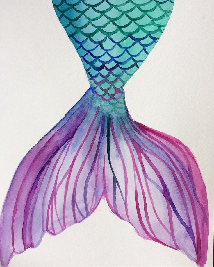 Watercolor Mermaid tail. Follow me on Instagram for more @katiyari