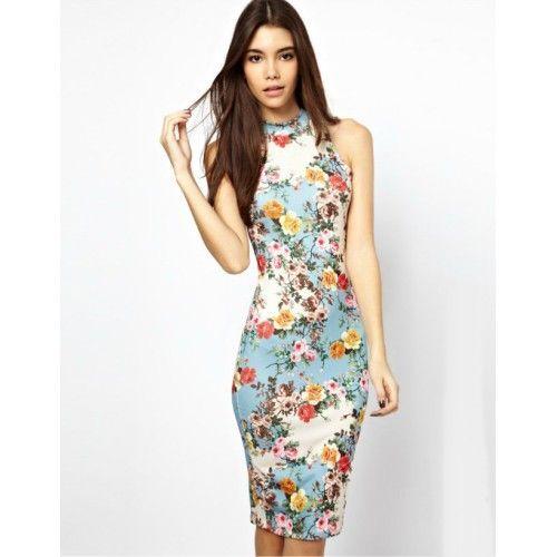 Blue Floral Bodycon Dress - For a flattering evening style, this floral bodycon dress is a go-to piece. #OnePiece #Dress #Floral #Prints #Shop #Online #FashionAffair
