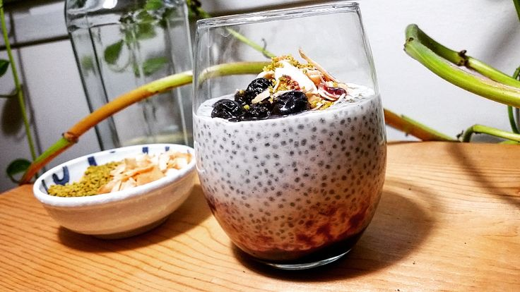 BANANA COCONUT CHIA PUDDING W/BLUEBERRY REDUCTION