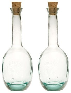 Recycled Glass Oil and Vinegar Set mediterranean food containers and storage