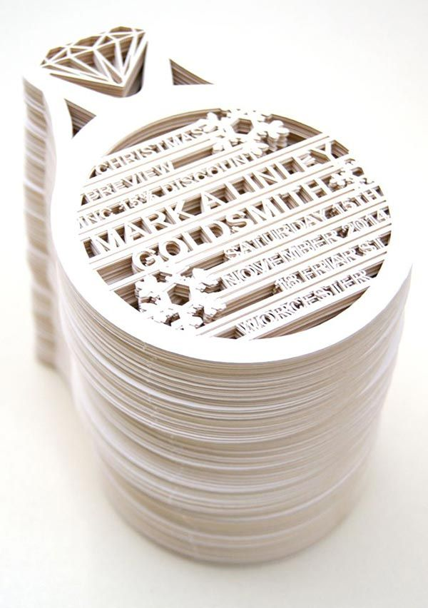 Laser cut diamond ring cards (for Mark A Linley Goldsmiths) from The Hummingbird Card Company.