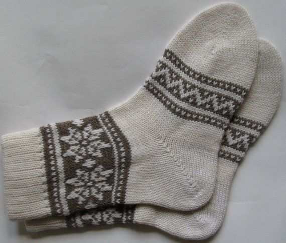 Back to school  Grey and white warm fall autumn winter Scandinavian pattern knit wool short socks Christmas gift CUSTOM MADE