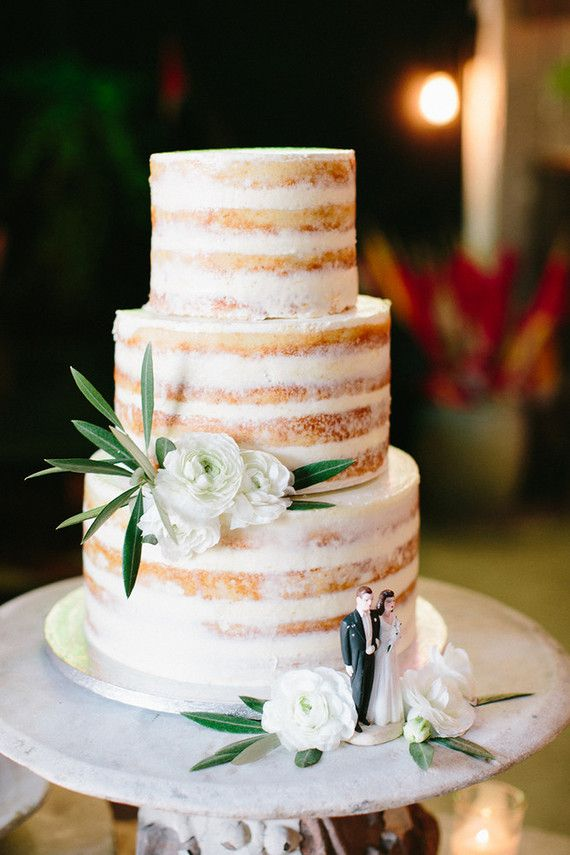 Naked wedding cake, the ultimate hipster cake. Next is cascading plain layers draped in lace.