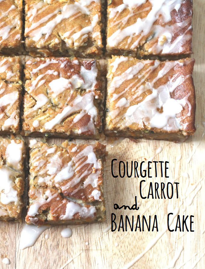 Courgette, Carrot and Banana Cake - a healthy cake packed with fruit and veg and topped with an orange glaze