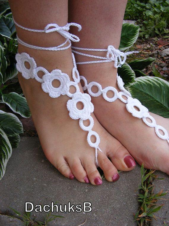 FLOWER GARDEN handmade crocheted barefoot sandals by dachuksb7196, $14.00