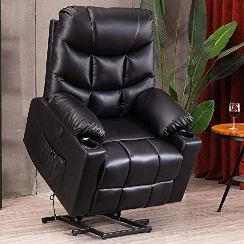 Best Seller B Baijiawei Power Lift Recliner Elderly Pu Massage Recliner Electric Heated Recliner Chair Remote Control Cup Holder Usb Port 2 Side Pockets In 2020 Recliner Chair White Leather Chair Chair