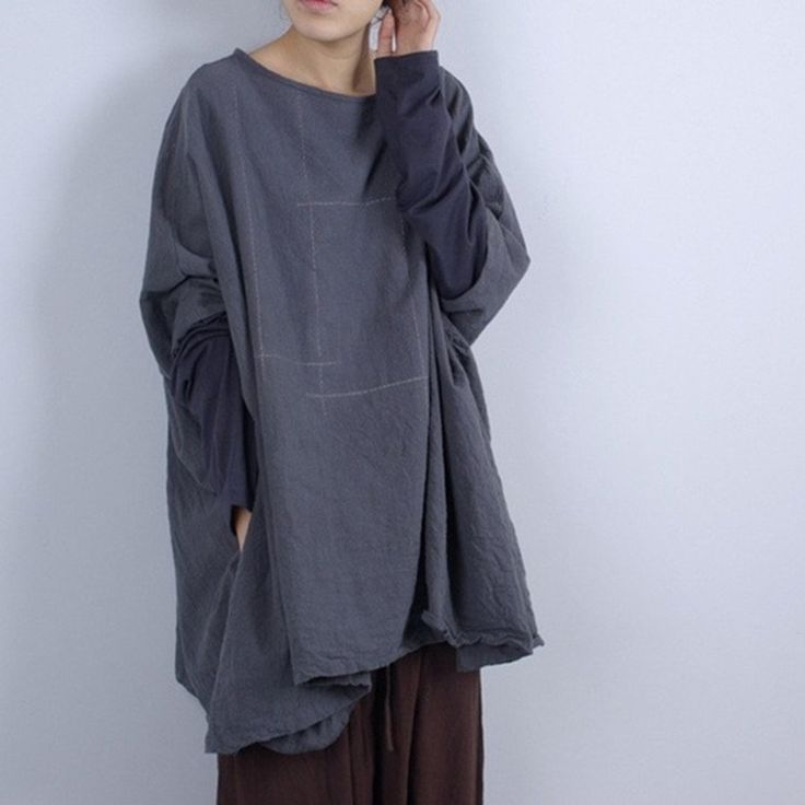 Women Casual Loose Cotton Linen Blouse