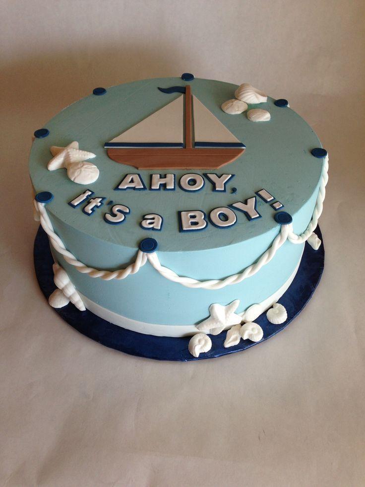 Baby Shower Cake | nautical | baby boy | rope | sailboat | sea | ocean | shells | buttercream