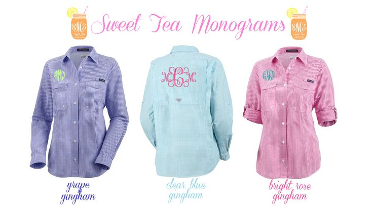 Women's monogrammed gingham Columbia PFG Shirts from Sweet Tea Monograms