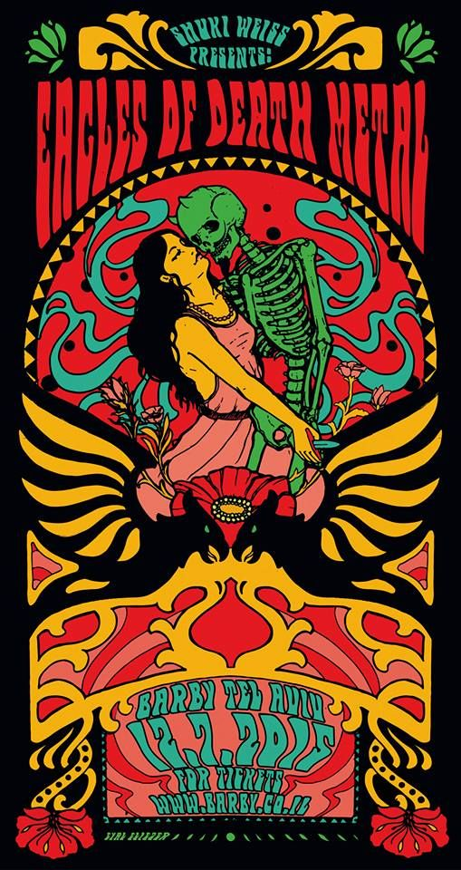 EAGLES OF DEATH METAL  Poster by Eyal Eliezer  psychedelic rock art gig show concert poster