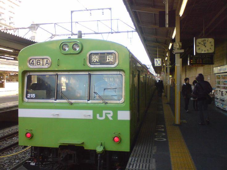 JR Nara Line, trains of matcha color. Kyoto Station.