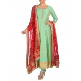 Pistachio Green Anarkali Suit with Sequined Red Dupatta