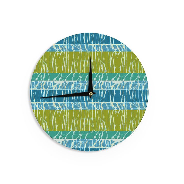 "Nina May ""Ocean Splatter"" Blue Teal Wall Clock"