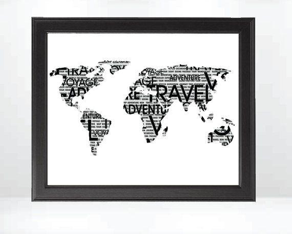 Wanderlust Travel Typography Modern World Map 8x10 Black and White Art Print on Etsy, $20.00