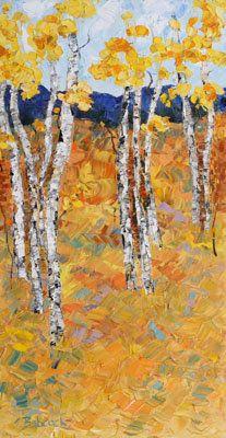 "Contemporary Artists of Colorado: Palette Knife Aspen Landscape Painting ""Aspen Paradise 1"" by Colorado Impressionist Judith Babcock"