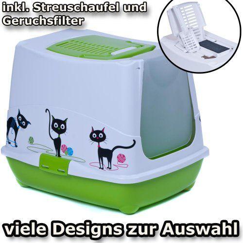 Aus der Kategorie Katzentoiletten  gibt es, zum Preis von EUR 24,99  Moderne Katzentoilette / Haubentoilette mit grosser Schwingtür, Schaufel und Filter.<br /> <br /> BESCHREIBUNG<br /> <br /> - Voll-Kunststoff: sehr gute Verarbeitung, leicht zu reinigen, sehr hygienisch<br /> - ergonomisches Design, daher kippstabil<br /> - lichtdurchlässige Schwingtür bzw. Pendeltür mit extra grosser Öffnung von ca. 26 x 22 cm<br /> - Schwingtür wird je nach verfügbarem Dekor bedruckt oder unbedruckt…