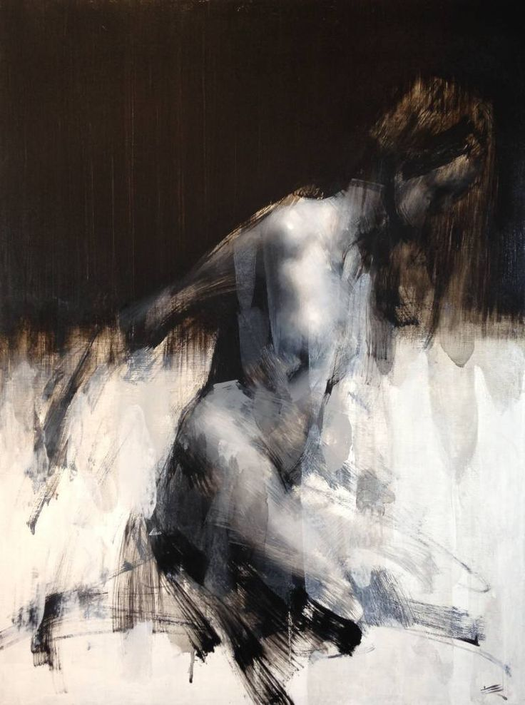 """Alegro no.33"" - Zin Lim, oil on canvas, 2015 {figurative #expressionist art discreet nude female woman smudged grunge painting} http://saatchiart.com/Zinlim"