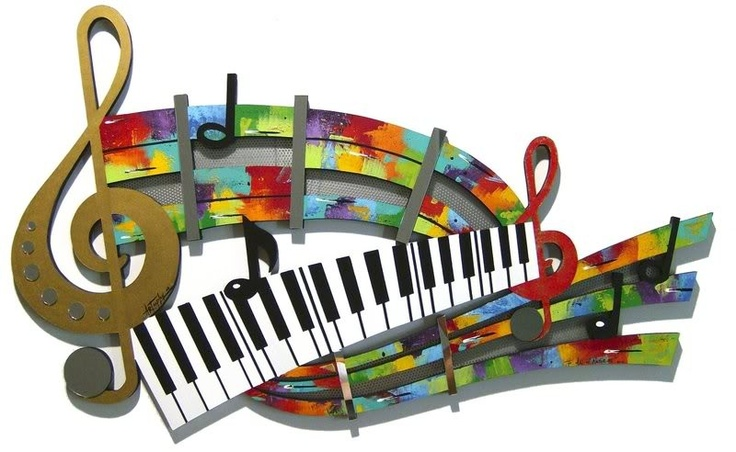 Abstract Music Notes Art: Unique Colorful Abstract Music Notes & Piano Keys Mixed