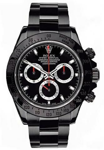 DLC PVD Stainless Steel Rolex Daytona Chronograph Mens Luxury Watch...