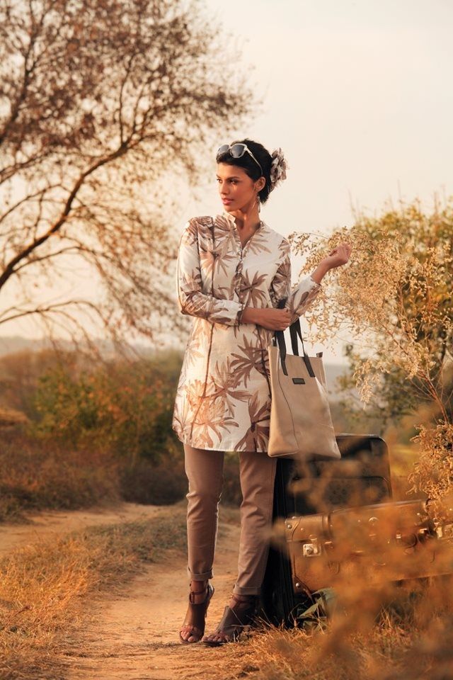 Summer Collection 2012  Copyright © W For Woman. All rights reserved.  #kurta #bottom #heels #bag #floral #flowers #brown #beige #clothing #india #wear #style #fashion