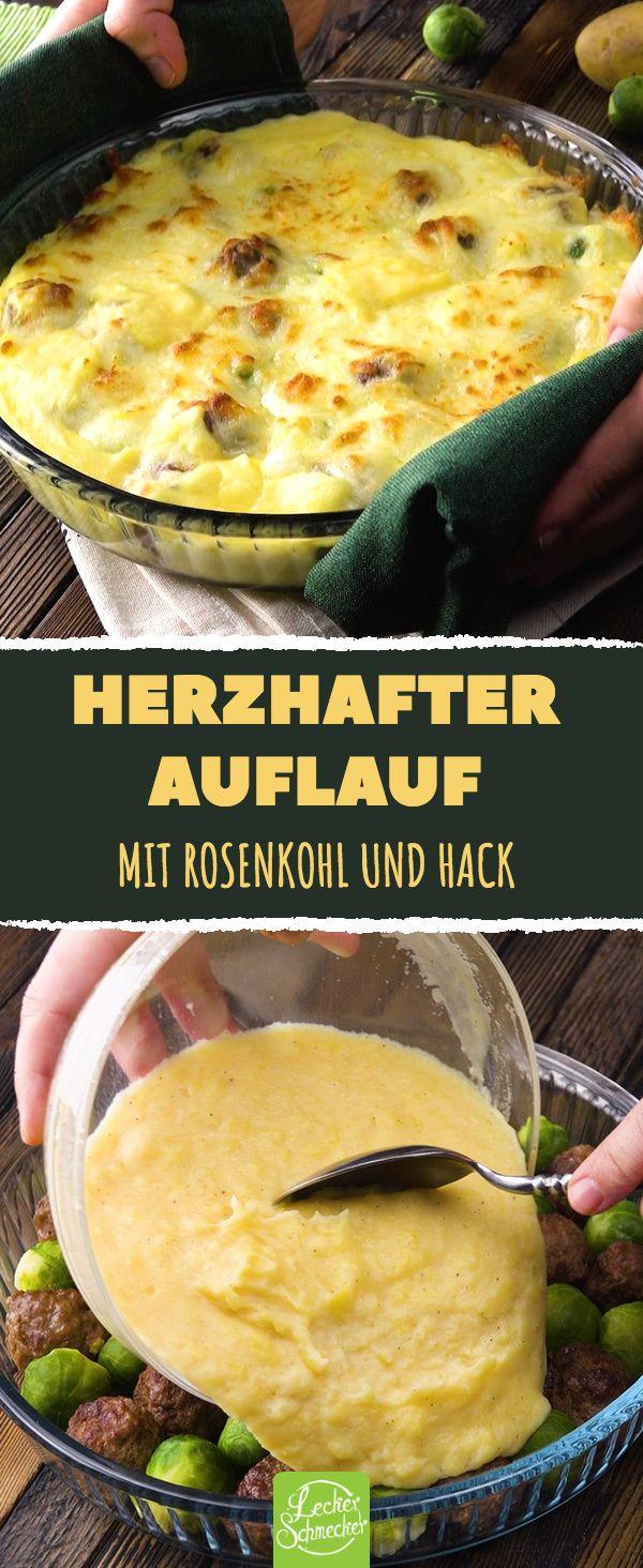 Herzhafter Auflauf. Mit Rosenkohl und Hack. #rezepte #herzhaftes #auflauf #rosen…