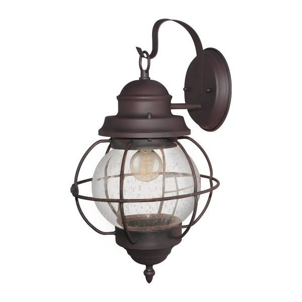 LNC Outdoor Wall Sconces Clear Seeded Glass Shade Oil Rubbed Bronze