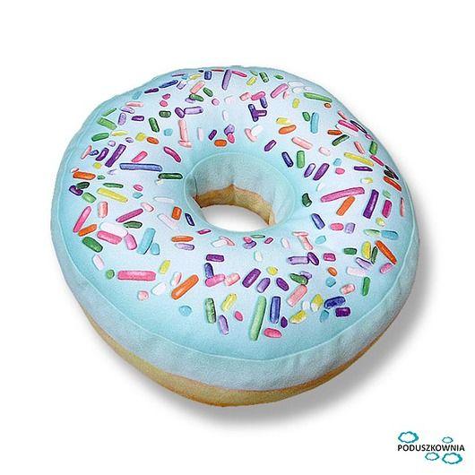 pokój dziecka - poduszki-Poduszka pączek Donut mini miętowy