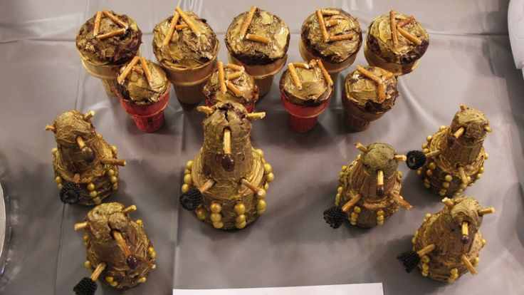 Dalek army-cupcakes in ice cream cones turned upside down-Doctor Who Baking Ideas from BBC America Staff