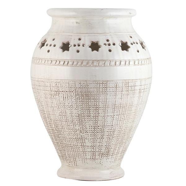SCAVO STELLA BIANCO: Large Vase Umbrella Stand textured and carved star design
