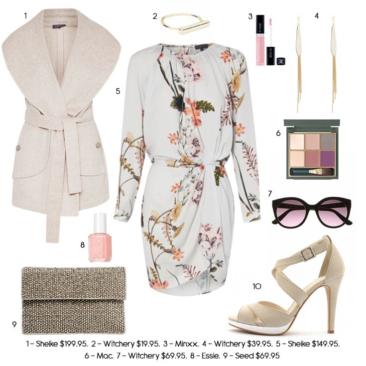 Stunning long sleeve dress in pastel, sleeveless coat, formal outfit, pastel…