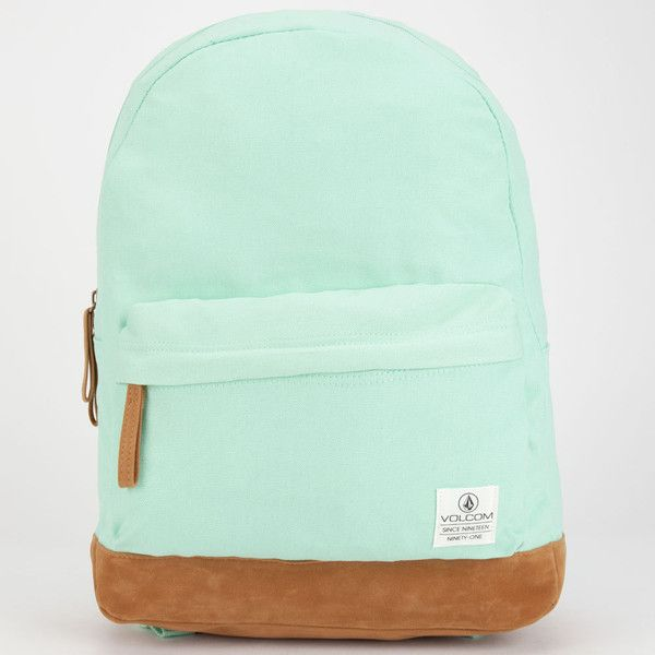 Volcom Supply & Demand Backpack ($39) ❤ liked on Polyvore featuring bags, backpacks, accessories, mint, canvas backpack, canvas rucksack, canvas knapsack, green bags and mint backpack