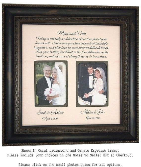 Personalized Wedding Photo Frame Mother Of The Bride Gift Parents Thank You 16 X
