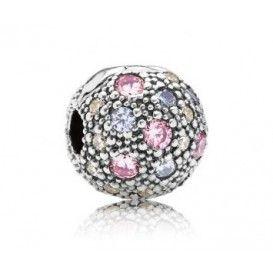 Pandora bedel Clip-stopper 791286PCZMX, De mooie paarse kosmische sterren clip-stopper heeft een mooi en speels design. Het schittert dankzij de mix van doorzichtige, roze zirkonia edelstenen