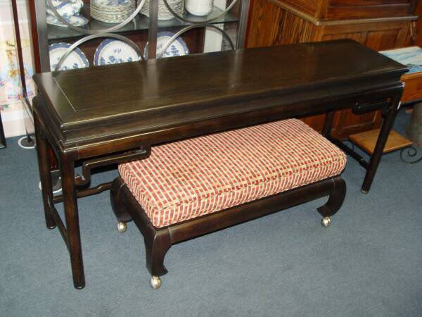 "Vintage Chinese dark solid wood painting table console * 59 1/2"" W X 15 1/4"" D X 27"" H:"