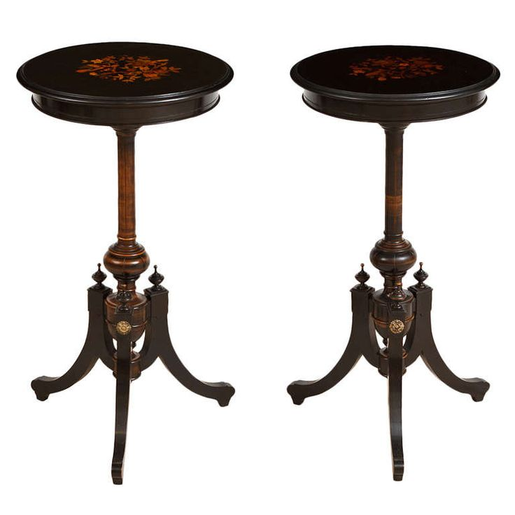 Pair Of French Napoleon III Ebonized Side Tables With Marquetry, Circa 1865