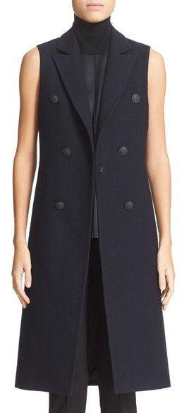 rag & bone 'Faye' Longline Double Breasted Wool Blend Vest