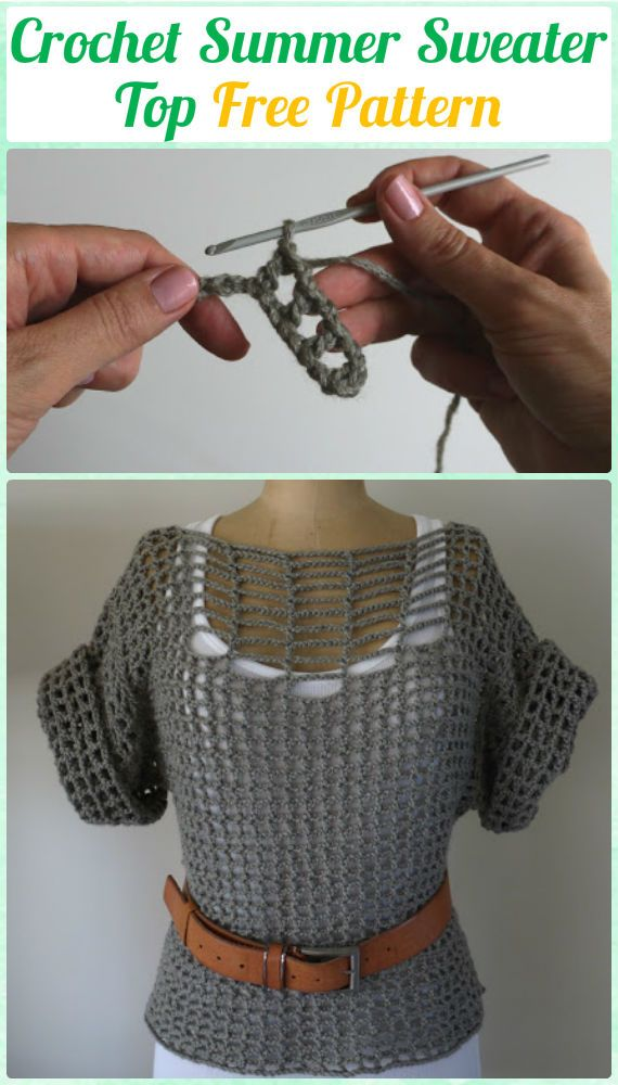 Crochet Double Stitch Summer Sweater Top Free Pattern - Crochet Women Pullover Sweater Top Free Patterns