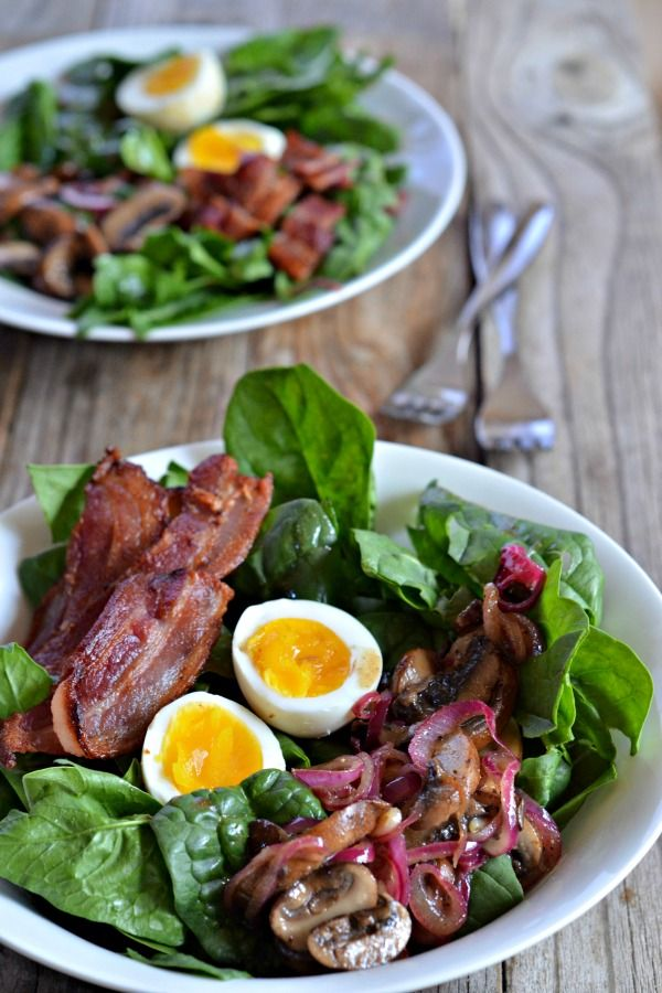 Spinach Salad with Warm Mushroom-Bacon Vinaigrette is gluten free,  Paleo and pretty much the BOMB!!!  | mountainmamacooks.com