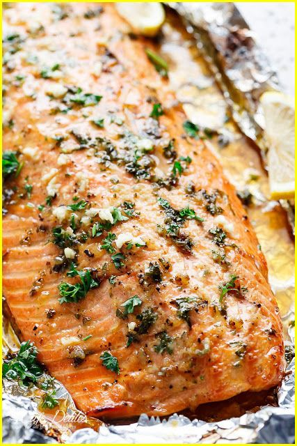 HONEY GARLIC BUTTER SALMON IN FOIL | all recipes