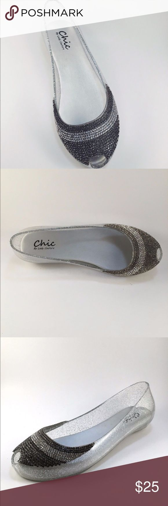 Peep Toe Jelly Dressy Flats New without box. Chic by Lady Couture Peep Toe Jelly Dressy Flats. Material: Rubber. Glitter with two stone rhinestones in the front. US Size: 10 Chic by Lady Couture Shoes Flats & Loafers