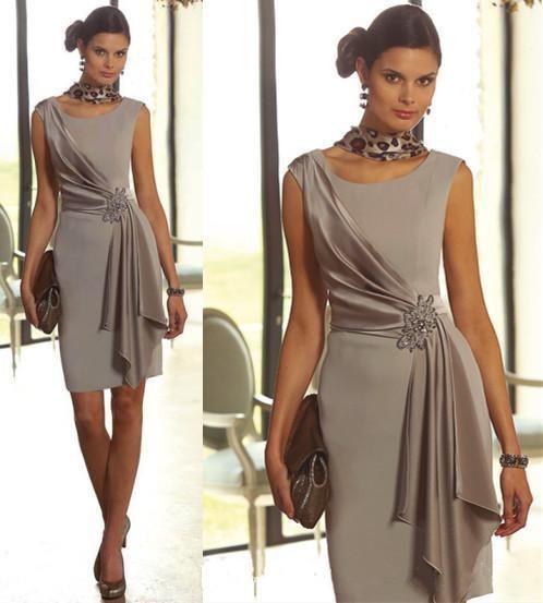 Mutter der Braut Kleider Modest Plus Size Short Sheath Mit Scoop Neck Sleeve …   – Mother of the Bride