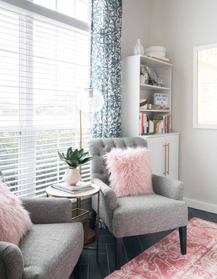 Office With Grey Chairs Pinks Accents And White Bookcase Pink Accents Living Room Living Room Grey Living Room White #pink #grey #and #white #living #room #ideas
