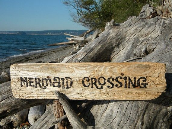 Mermaid crossing sign driftwood painted coastal beach cabin cottage nautical…