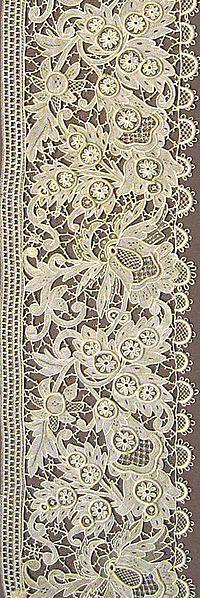 Wikipedia.org/***LACE-- Needlerun Net-- is a family of laces created by using a needle to embroider on a net ground.