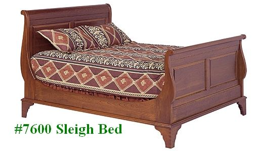 Sleigh bed with headboard and footboard in cherry for French/Scandinavian-country bedroom