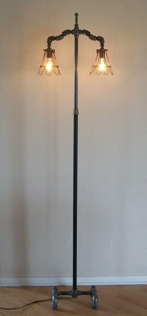 Industrial floor lamp double light style by Splinterwerx on Etsy, $325.00