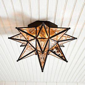 "Moravian Star Ceiling Mount Mercury Glass - 14"""
